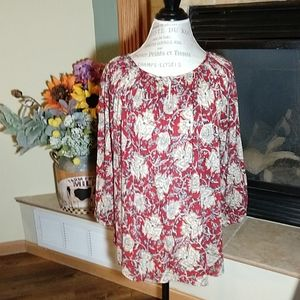 CHAPS RED FLORAL BLOUSE LARGE